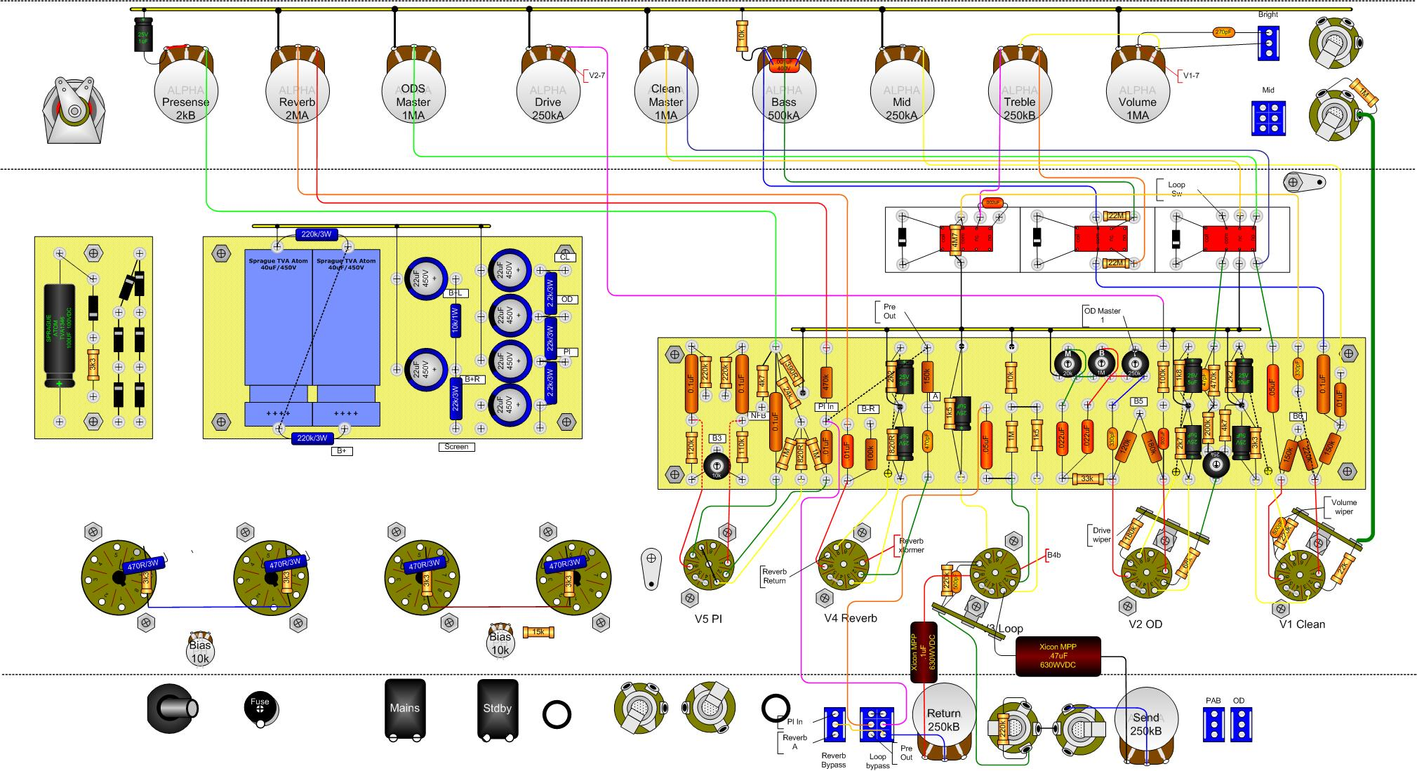 dumble HRM layout on amp layout, chassis dimensions, parts list, input jacks, circuit board, deluxe schematic, amp head, cabinet plans, tube chart, amp bias, cabinet build,